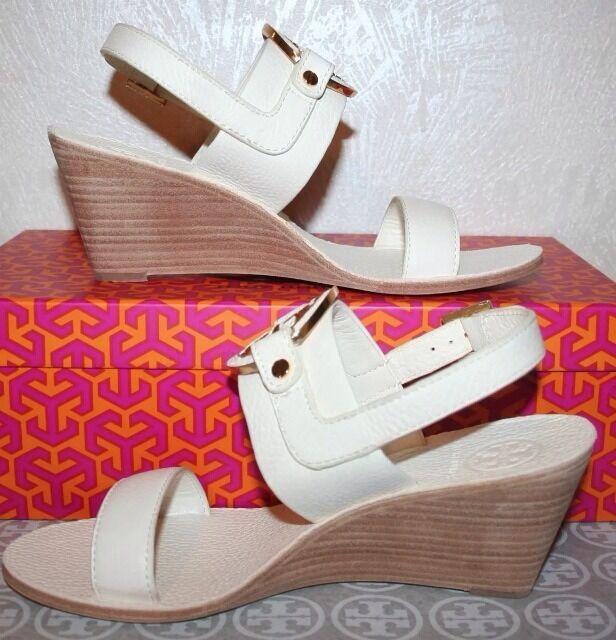 Tory Burch Mid Wedge Amanda Logo Sandals Size 7 Bleach White Leather 37EU  346
