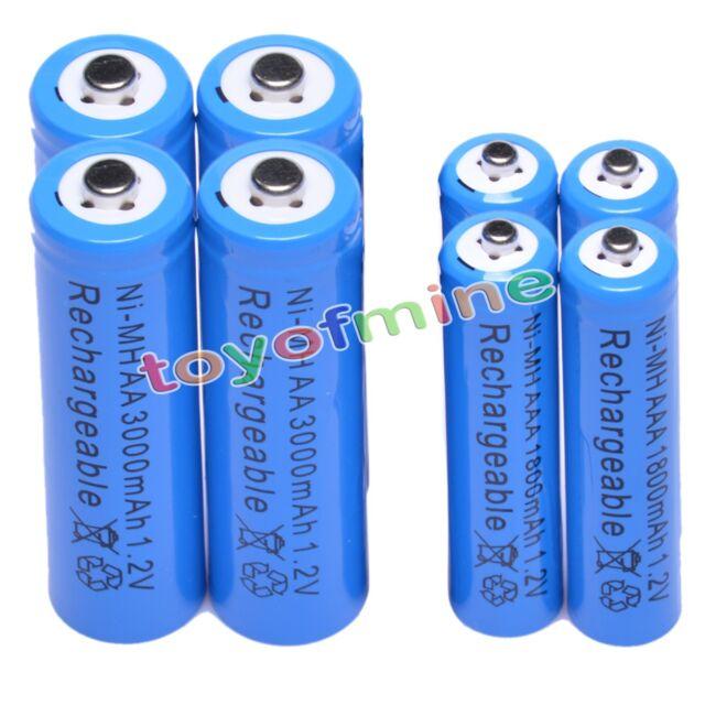 4 AAA +4 AA 3000mAh 1800mAh rechargeable battery NiMH B