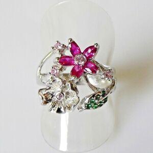 Handarbeit Feiner Rubin Saphir Tsavorit Blüten Ring 925 Silber 17,8 mm 56