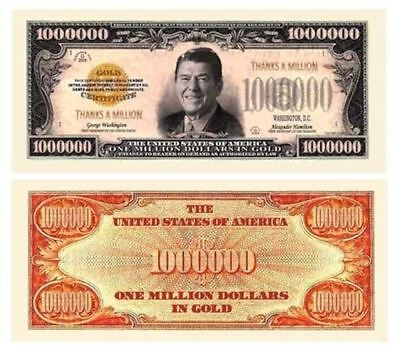 Thanks a Million Dollar Bill Play Funny Money Novelty Note Reagan FREE SLEEVE