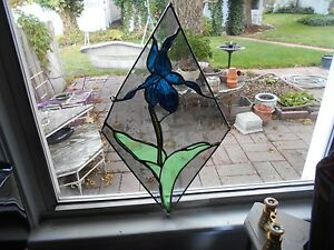 STAINED GLASS WINDOW PANEL SUNCATCHER ART RAINDROP