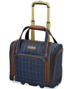 270-LONDON-FOG-Brentwood-15-034-Softside-Underseat-Luggage-Carry-On-Blue-Plaids