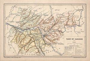 Details About Tarn Et Garonne 82 Carte Du Departement Gravure Engraving Vers 1890