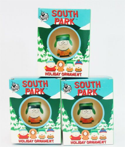 Lot of 3 South Park Kyle Glass Ornament Ball Holiday xmas Tree Comedy Central