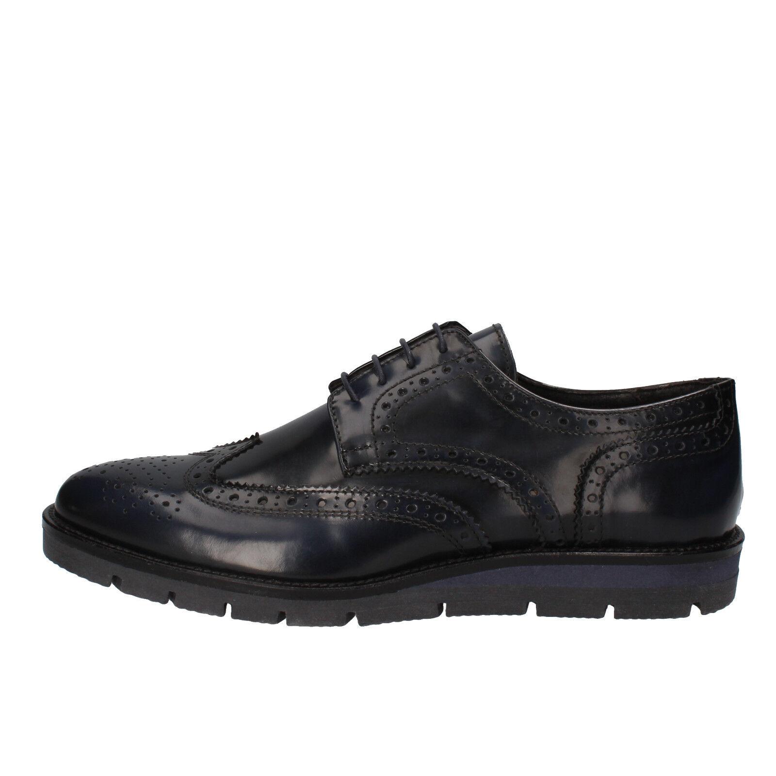 scarpe uomo J BREITLIN 42 EU classiche blu pelle lucida AD13-C