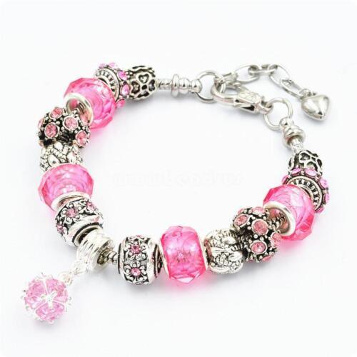 Charme Européen Perles Bracelet 925 Plaqué Argent strass cristal Cuff Bangle