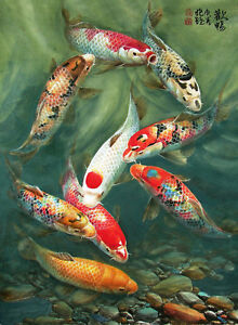Image Is Loading Gifts Art Wall Hd Printed Feng Shui Fish