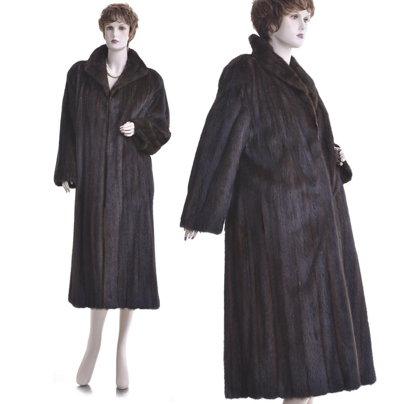 Mint  Petite  Fashionable Genuine Mahogany Female Mink Fur Full-Length Coat