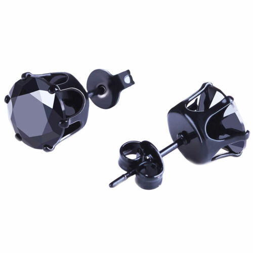Stud Earrings Heart Square Round Clear Red Pur Black CZ 3-10MM Stainless Steel