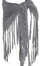 GRAY FRINGE Tribal Fusion Belly Dance Dancing Burlesque Gothic Hip Scarf Belt