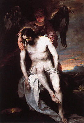 """Huge art Oil painting The Dead Christ Supported by an Angel in landscape 24""""x36"""""""