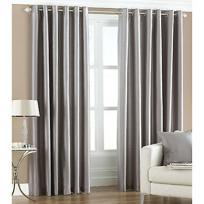 2 Panels Faux Silk Dupioni Solid Lined Grommet Eyelet Ring Top Curtains Drapes