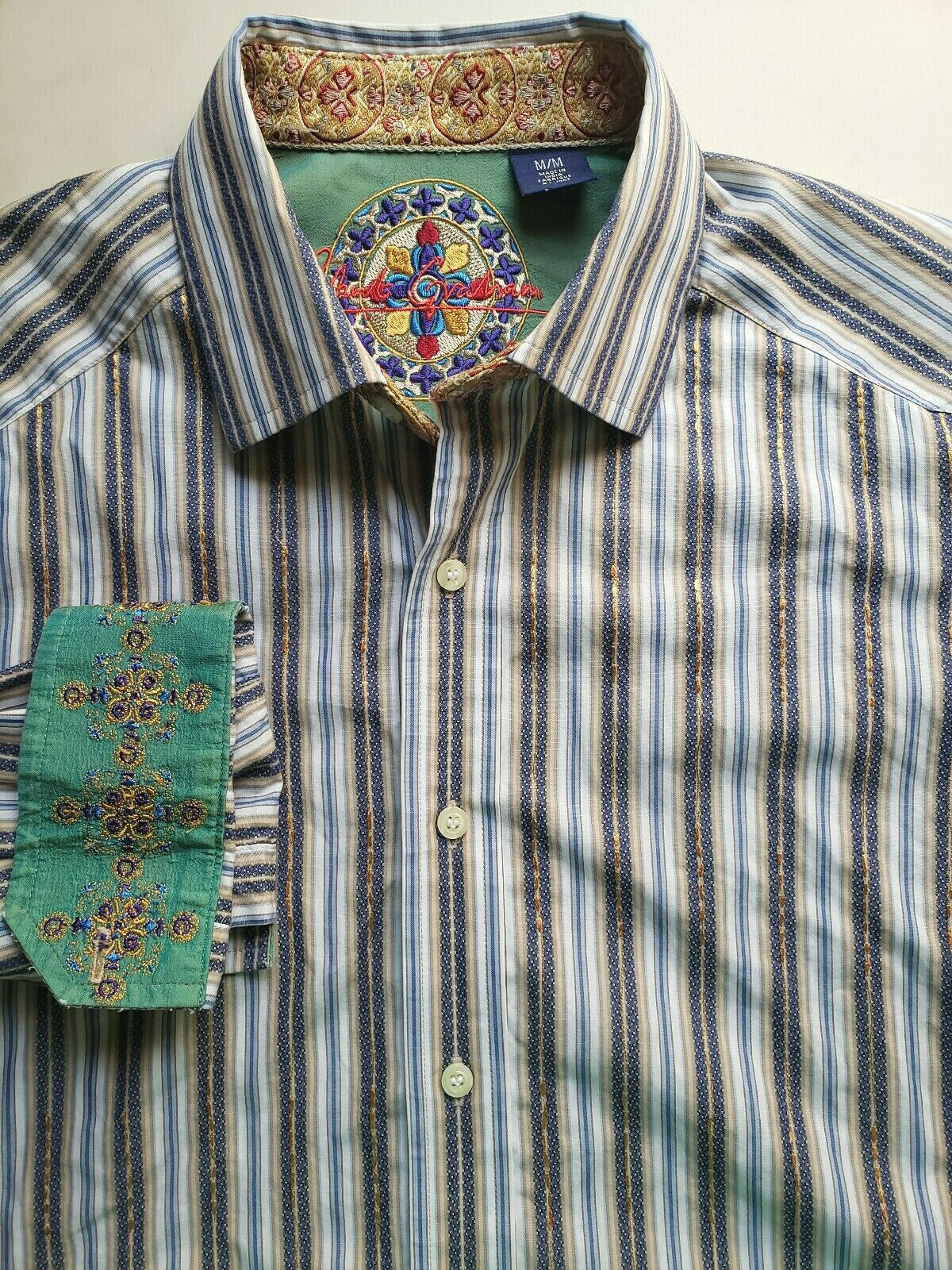 5feb5221 Robert Graham Mens Fit Flip Cuff Cotton Multi-color Stripe M Shirt Classic  npelqe1182-Casual Button-Down Shirts