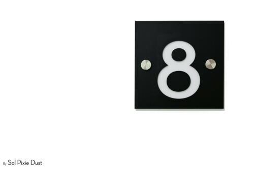 Sign One Number Square Black Acrylic with White Acrylic Modern House Numbers