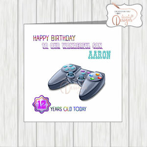 Image Is Loading Personalised Name Age Happy Birthday Card Gaming Online