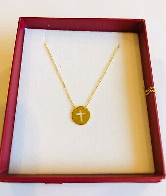 14k Yellow Gold Charm Crossx Center Cut-out