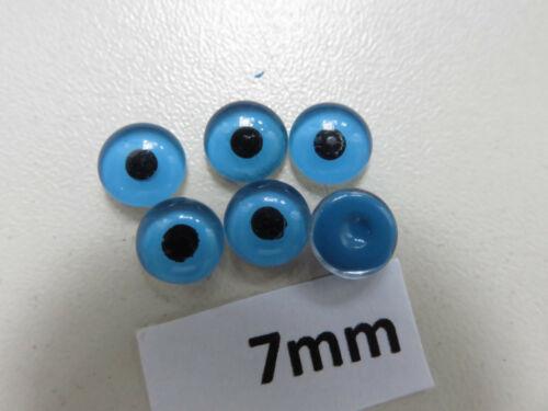7mm  blau hintermalt Glas 3Paar Linsen Puppenaugen Glas