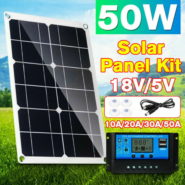 50W Solar Panel kit 12V battery Charge 10A//20A//30A Controller Caravan Boat Home