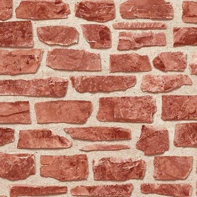 Brick Effect Wallpaper Textured Embossed Vinyl Slate Stone Rustic Realistic Red