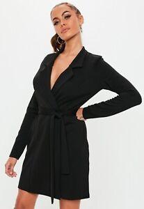 f72d6650cdba Image is loading MISSGUIDED-Black-Long-Sleeve-Belted-Blazer-Dress-BNWT-