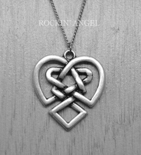 ladies Gift 925 Antique Silver Plt Celtic Heart Knot Pendant Necklace