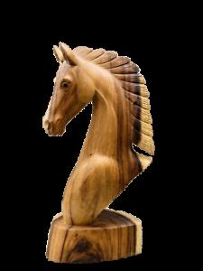 Escultura Cabeça De Cavalo Enfeite Madeira Esculpida À Mão Em Dois Tons De Madeira Busto 40cm