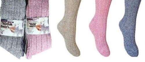 3-6  Pairs Ladies blend Thick Wool Thermal Boot Socks Walking Hiking Ski Winter