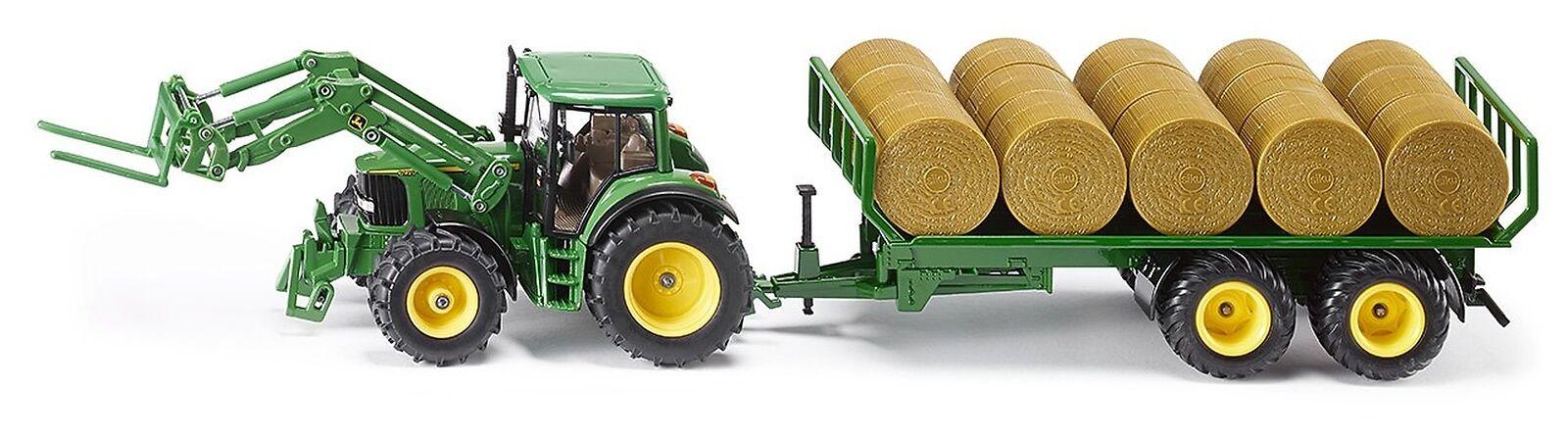 Siku - 1 32 John Deere Tracteur avec Remorque & balles rondes