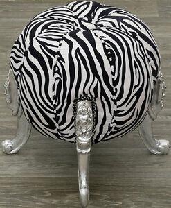 Barocco-Pouf-per-Sedersi-Silber-Zebra-Grande-Sgabello-Sgabello