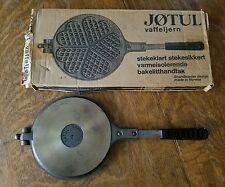 VINTAGE CAST IRON JOTUL KRUMKAKE WAFFLE IRON BAKELITE HANDLES W/ORIGINAL BOX
