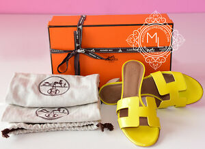096ed1a0393e NEW HERMES 30%OFF JAUNE YELLOW OASIS ORAN SANDAL SLIPPER 36.5 5.5 ...