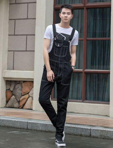 Mens Loose Denim Overall Jumpsuit Jeans Suspenders Romper Cowboy Pants Dungarees