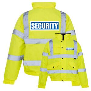 Hi Viz High Visibility Reflective Bomber Jacket Waterproof Security Coat 3XL