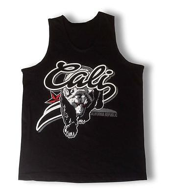 "NEW MEN'S PRINTED ""CALI BEAR"" CALIFORNIA REPUBLIC MMA FUNNY BLACK TANK TOP TEE"