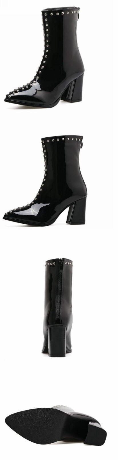 Booties Stiefel heel square shiny schwarz studs 7.5 cm Leder like Leder cm 1368 cfe53a