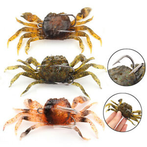 10cm-Saltwater-3D-Manic-Crab-Lures-Bass-Wrasse-Cod-Sea-Fishing-Hook-Tackle-Bait