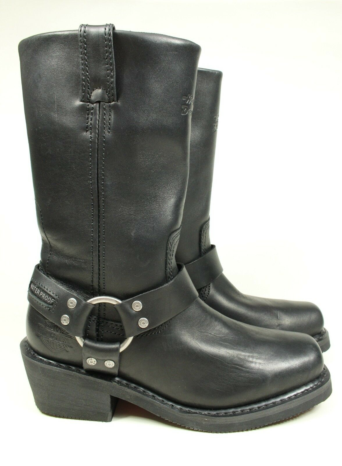 Nueva Harley-Davidson Hustin 86222 Negro Cuero Moto botas para mujer 7.5
