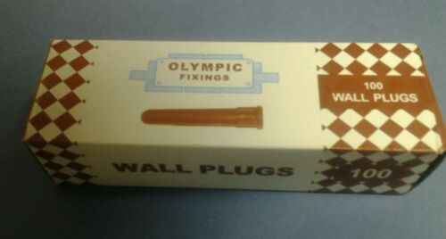 100 brown wall plugs to suit 7mm drill /& 10g 14g screws 12g