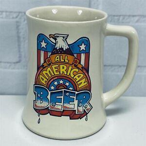 Vintage-ALL-AMERICAN-BEER-Mug-Stein-Patriotic-Eagle-Wallace-Berrie-1982
