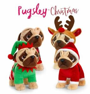 KEEL-TOYS-PUGSLEY-THE-PLUSH-DOG-CHRISTMAS-OUTFIT-25CM-BNWT