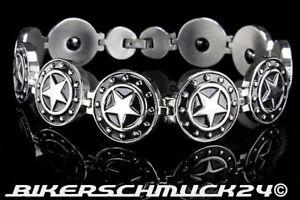 Rockabilly-Schmuck-Armband-Black-Stars-massiv-silber-Edelstahl-Herren-Geschenk