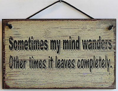 8x10 Sign Sometimes My Mind Wanders Leaves Completely Funny Brain Home Office
