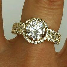 3 Carat 14k yellow Gold halo round man made diamond  Engagement Ring 5 6 7 8