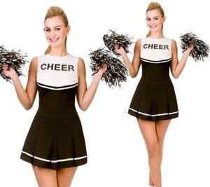 Image is loading Adults-High-School-Cheerleader-Costume-Ladies-Black-Fancy-  sc 1 st  eBay & Adults High School Cheerleader Costume Ladies Black Fancy Dress ...