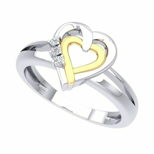 0.05Ct Sterling Silver Round Diamond Double Heart Promise Ring 7 Sterling Silver