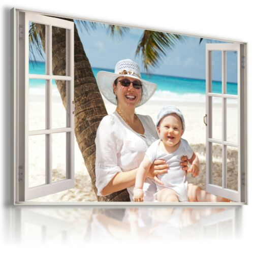 """PERFECT GIFT MATAGA YOUR PHOTO IN 3D WINDOW PERSONALIZED CANVAS 20 x 40/"""""""