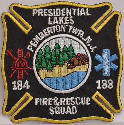 """Presidential Lakes Pemberton New Jersey Fire Rescue Squad Department 3/"""" Patch"""