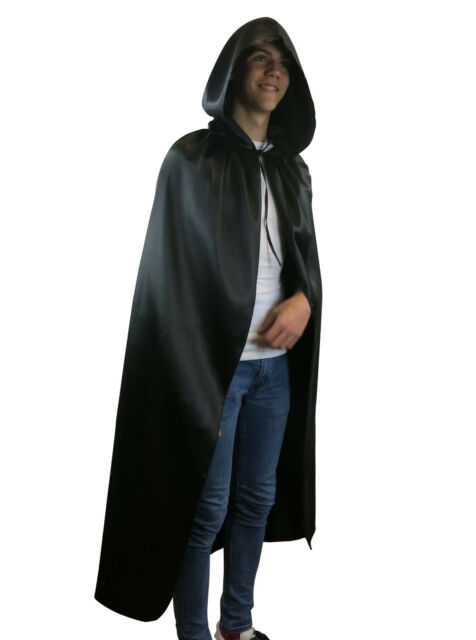 Halloween Party Long Velvet Black Hooded Cloak Cape Vampire Fancy Dress N7