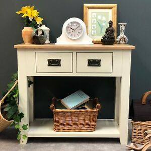 buy popular c2037 d764e Details about Painted Cream Oak Console Table / Solid Wood Hall Table  Telephone Table /Padstow