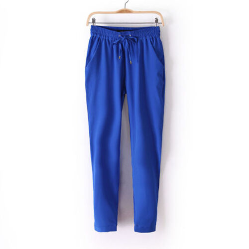 Womens High Waisted Drawstring Pencil Pants Office Skinny Slim Harem Trousers